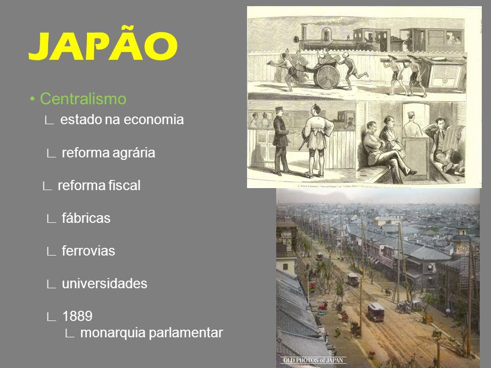 Centralismo estado na economia reforma agrária reforma fiscal fábricas ferrovias universidades 1889 monarquia parlamentar JAPÃO