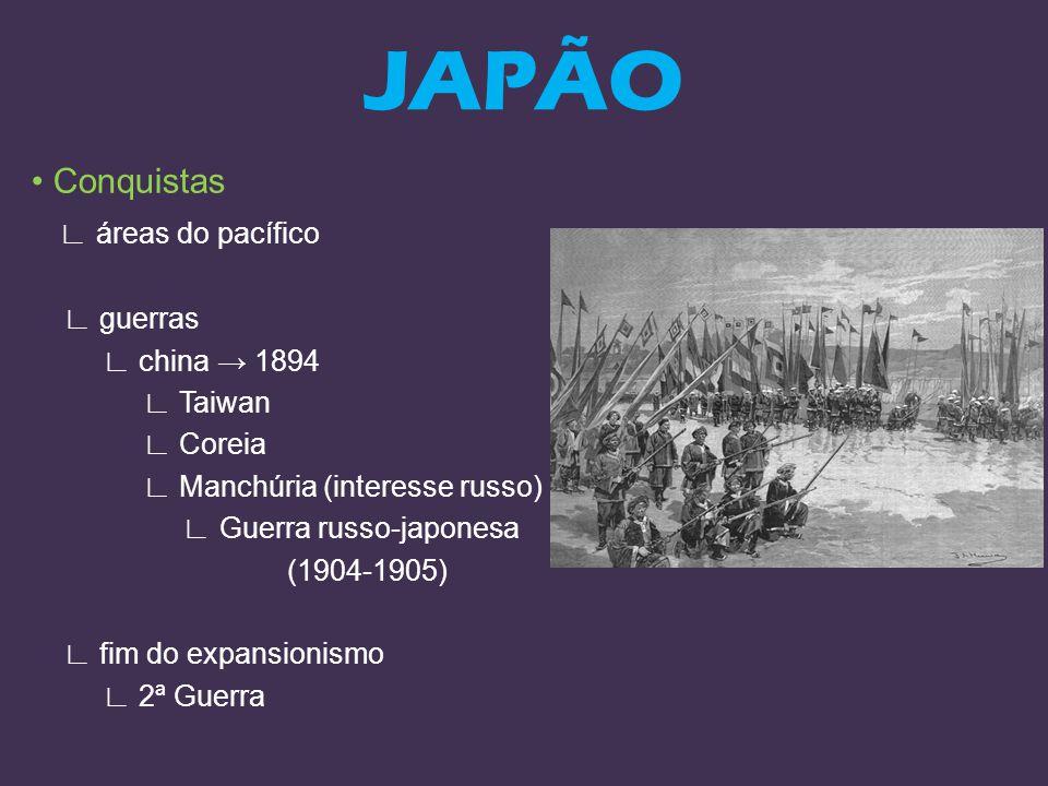 Conquistas áreas do pacífico guerras china 1894 Taiwan Coreia Manchúria (interesse russo) Guerra russo-japonesa (1904-1905) fim do expansionismo 2ª Gu
