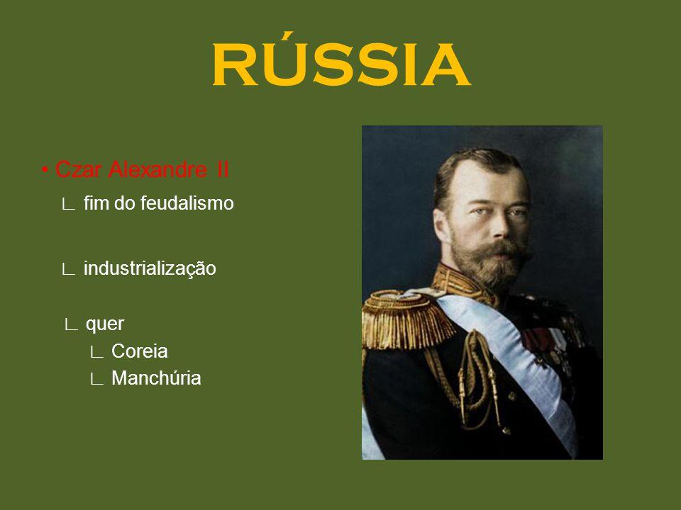 RÚSSIA Czar Alexandre II fim do feudalismo industrialização quer Coreia Manchúria