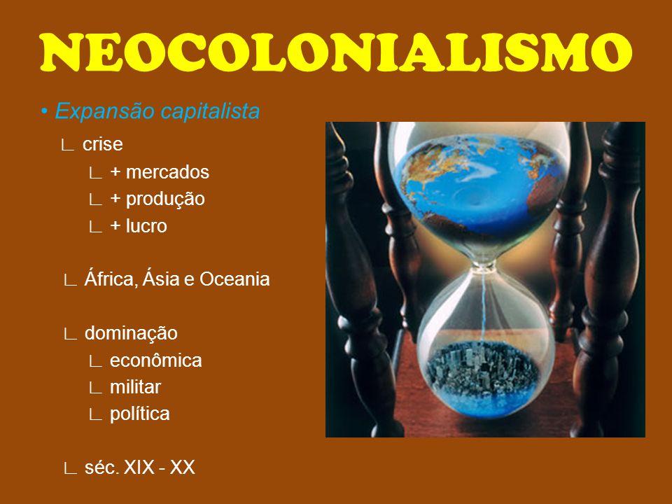 NEOCOLONIALISMO Expansão capitalista crise + mercados + produção + lucro África, Ásia e Oceania dominação econômica militar política séc. XIX - XX