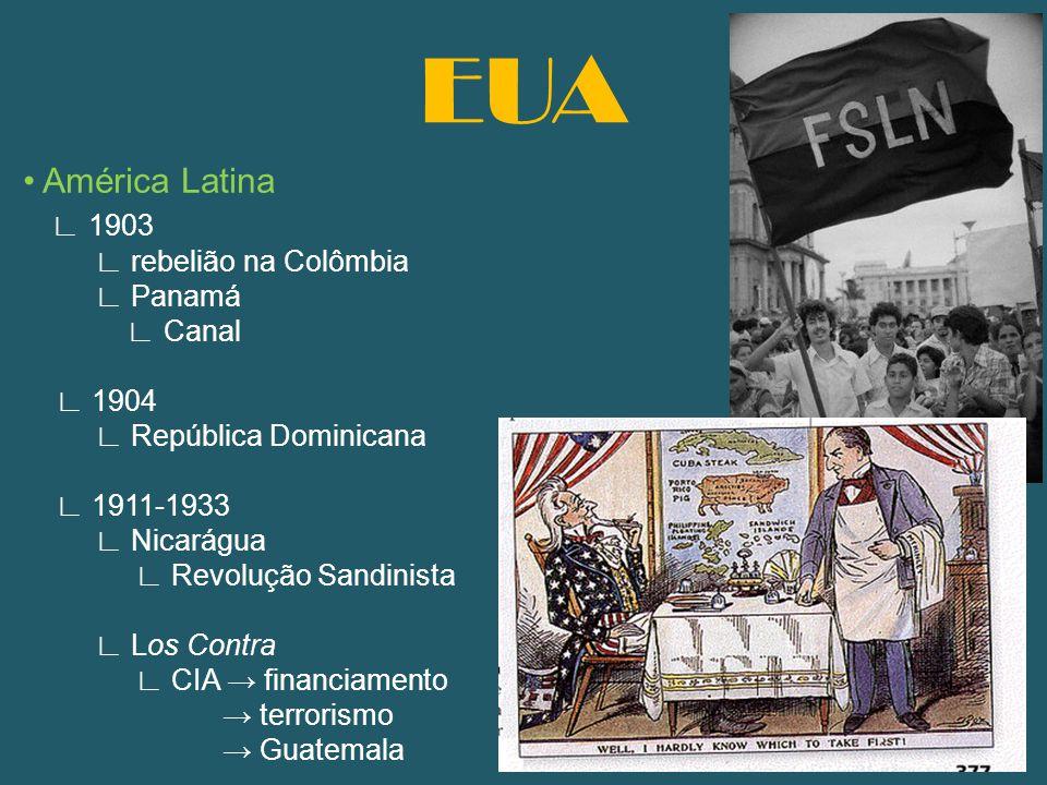 América Latina 1903 rebelião na Colômbia Panamá Canal 1904 República Dominicana 1911-1933 Nicarágua Revolução Sandinista Los Contra CIA financiamento