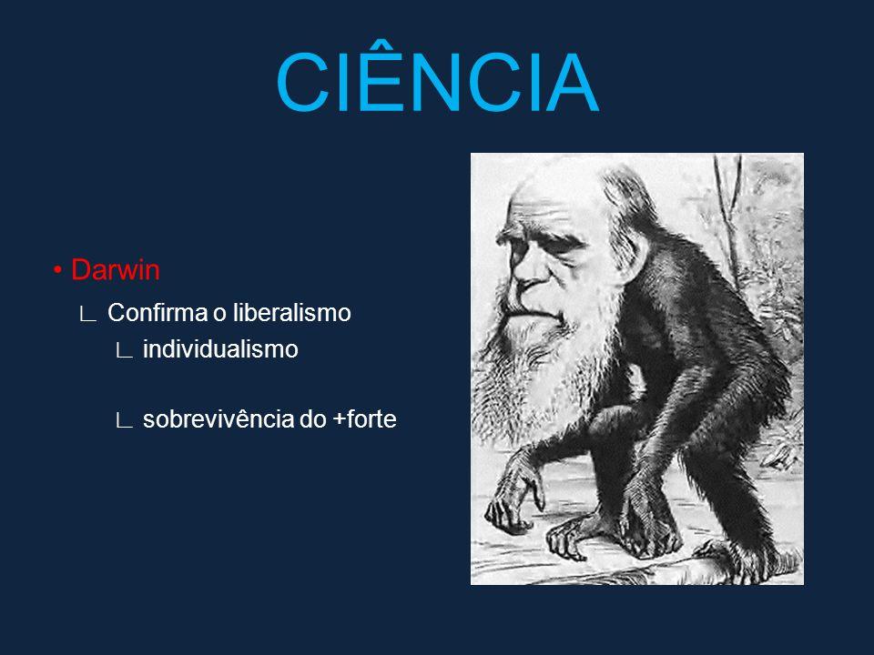 Darwin Confirma o liberalismo individualismo sobrevivência do +forte CIÊNCIA