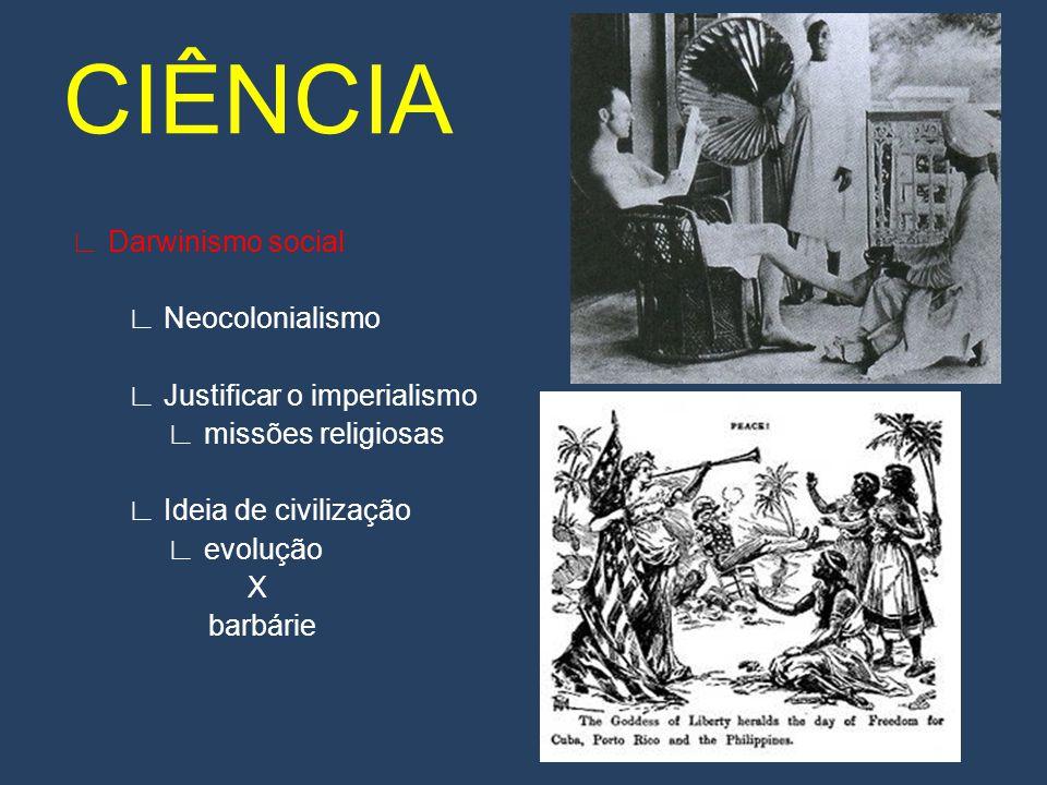 Darwinismo social Neocolonialismo Justificar o imperialismo missões religiosas Ideia de civilização evolução X barbárie CIÊNCIA