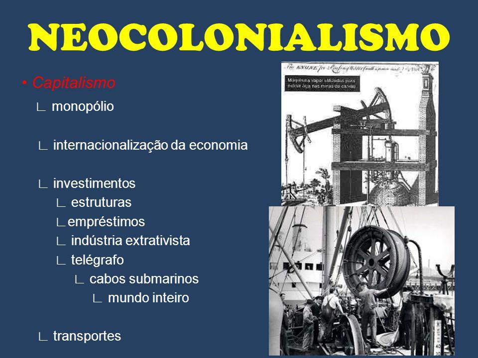 Capitalismo monopólio internacionalização da economia investimentos estruturas empréstimos indústria extrativista telégrafo cabos submarinos mundo int