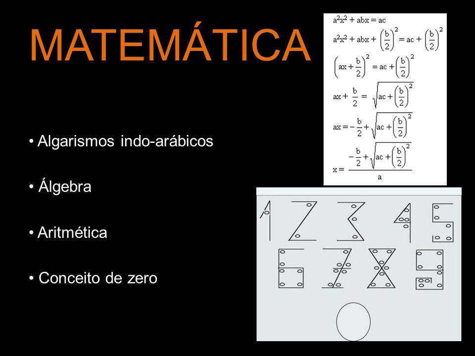 MATEMÁTICA Algarismos indo-arábicos Álgebra Aritmética Conceito de zero