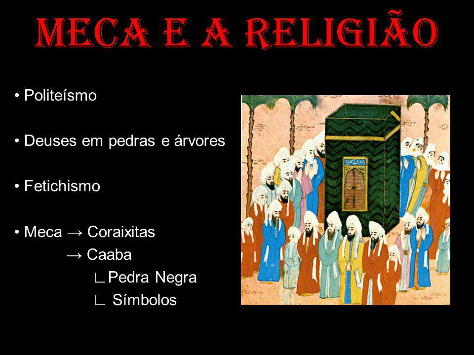 MECA E A RELIGIÃO Politeísmo Deuses em pedras e árvores Fetichismo Meca Coraixitas Caaba Pedra Negra Símbolos