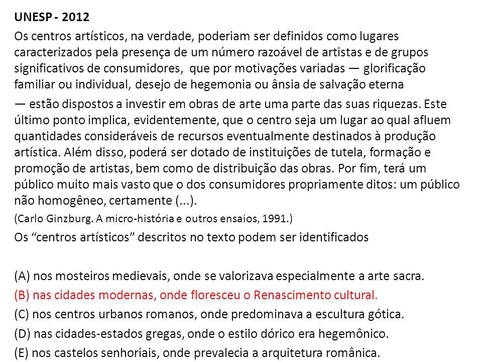UNESP - 2012 Os centros artísticos, na verdade, poderiam ser definidos como lugares caracterizados pela presença de um número razoável de artistas e d