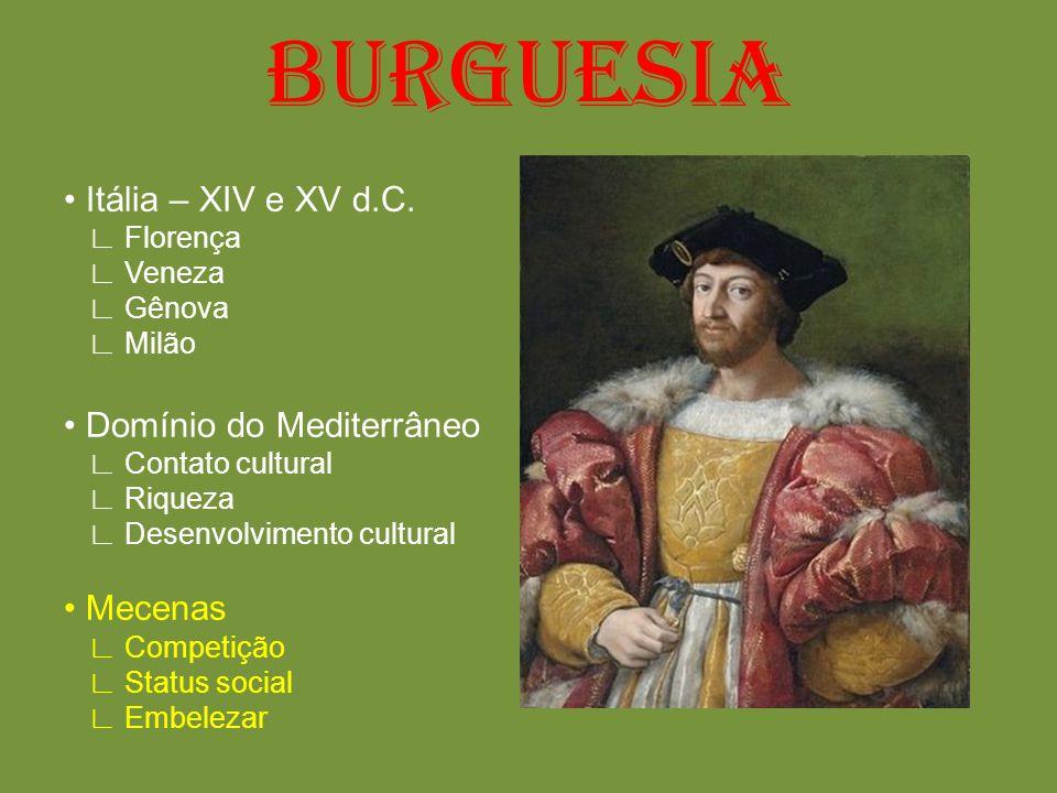 BURGUESIA Itália – XIV e XV d.C. Florença Veneza Gênova Milão Domínio do Mediterrâneo Contato cultural Riqueza Desenvolvimento cultural Mecenas Compet