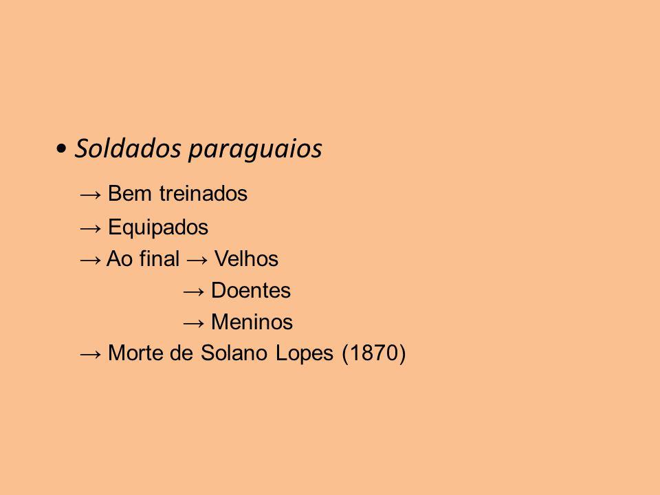 Soldados paraguaios Bem treinados Equipados Ao final Velhos Doentes Meninos Morte de Solano Lopes (1870)