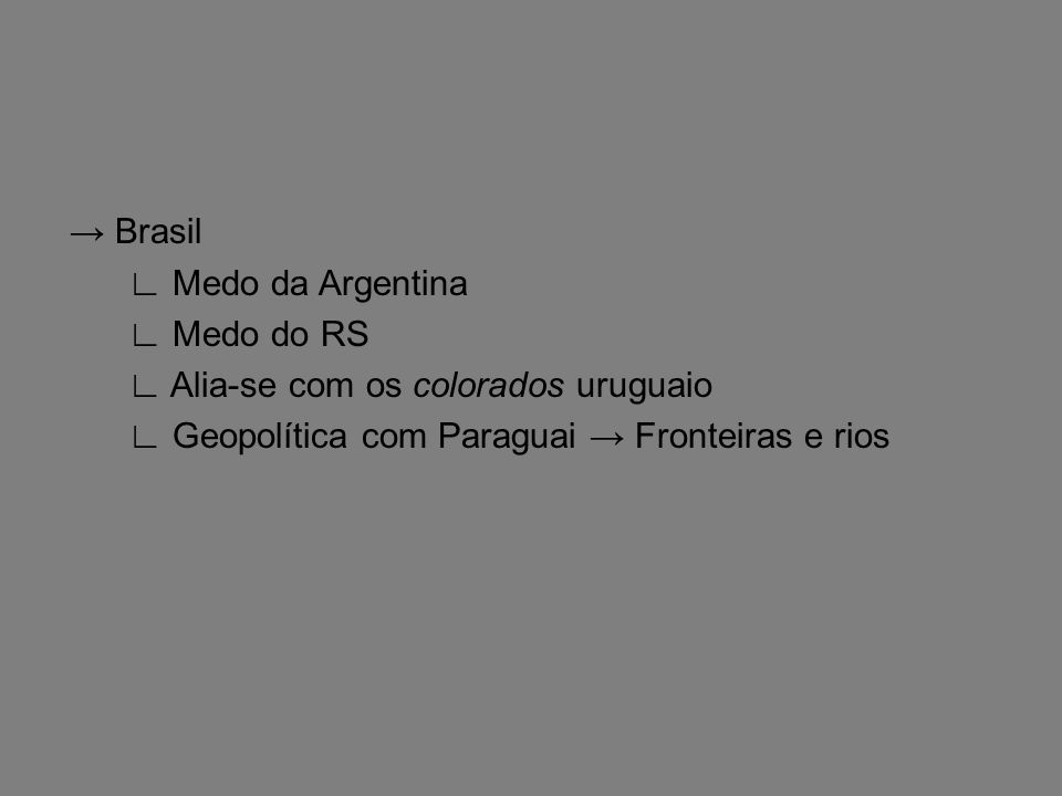 Brasil Medo da Argentina Medo do RS Alia-se com os colorados uruguaio Geopolítica com Paraguai Fronteiras e rios