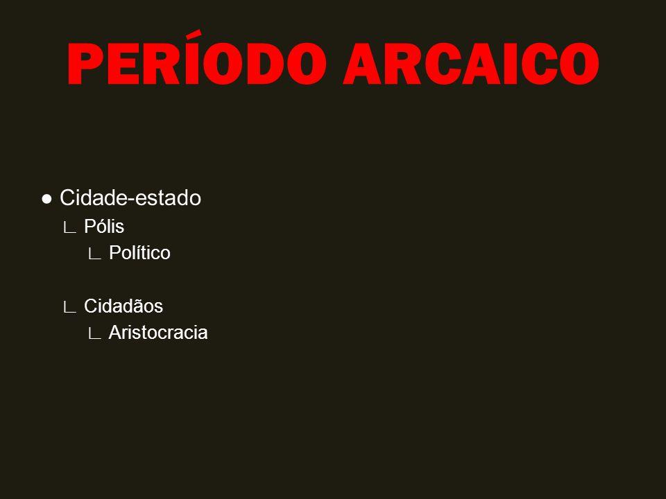 PERÍODO ARCAICO Cidade-estado Pólis Político Cidadãos Aristocracia