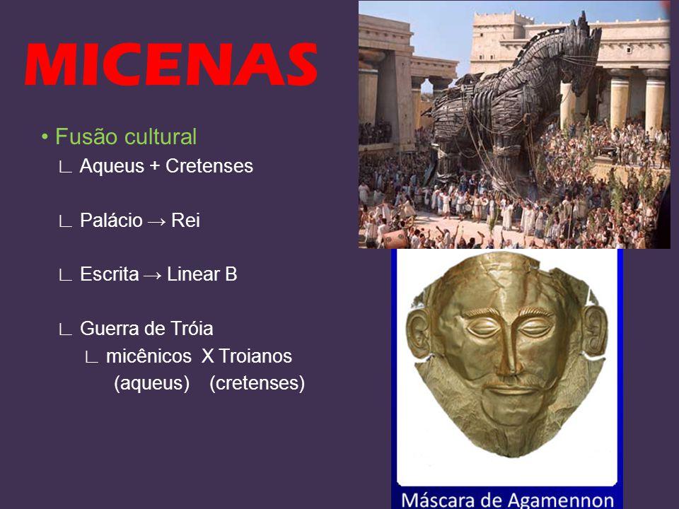 MICENAS Fusão cultural Aqueus + Cretenses Palácio Rei Escrita Linear B Guerra de Tróia micênicos X Troianos (aqueus) (cretenses)