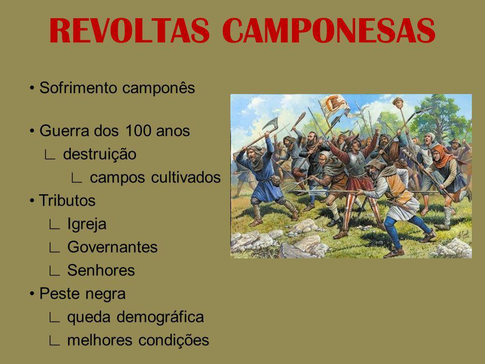 REVOLTAS CAMPONESAS Sofrimento camponês Guerra dos 100 anos destruição campos cultivados Tributos Igreja Governantes Senhores Peste negra queda demogr
