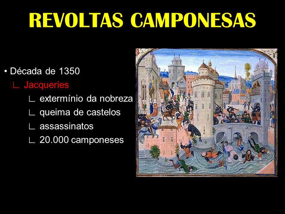 REVOLTAS CAMPONESAS Década de 1350 Jacqueries extermínio da nobreza queima de castelos assassinatos 20.000 camponeses