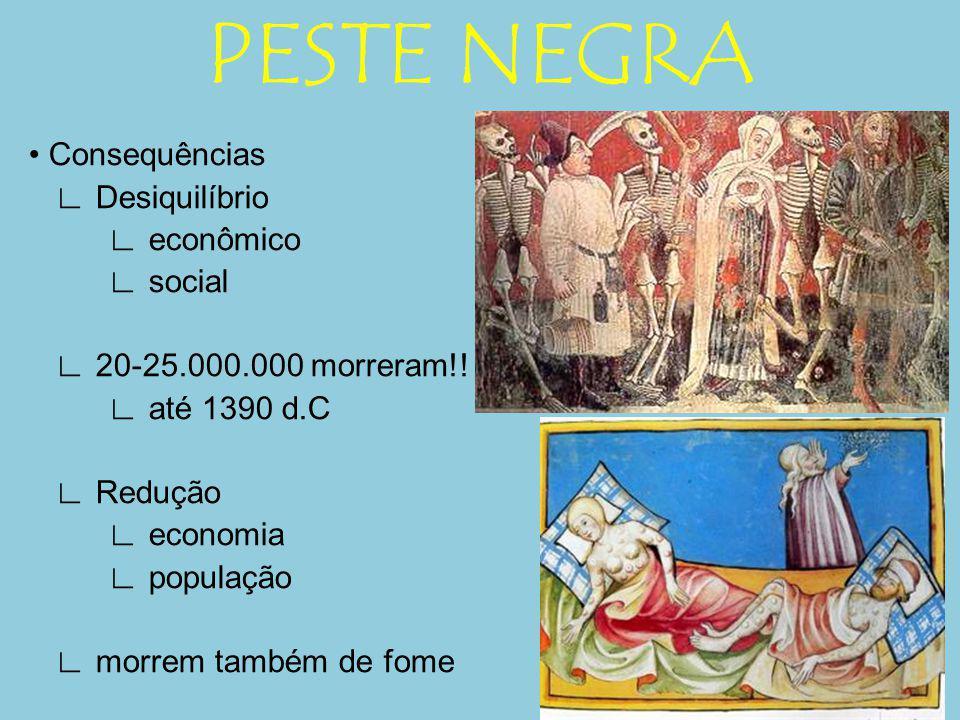 PESTE NEGRA Consequências Desiquilíbrio econômico social 20-25.000.000 morreram!! até 1390 d.C Redução economia população morrem também de fome