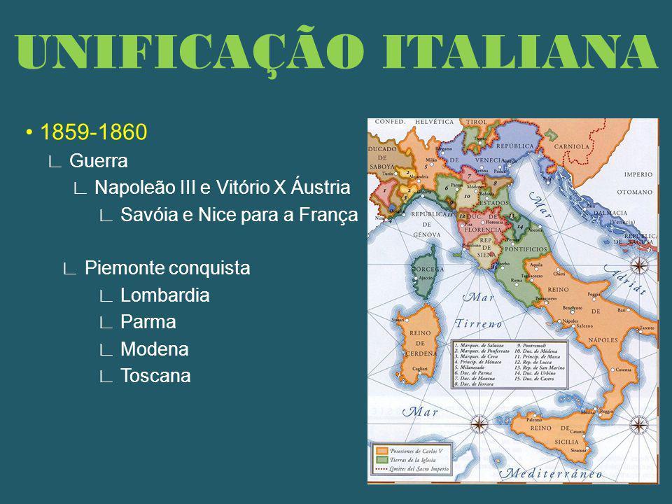 1859-1860 Guerra Napoleão III e Vitório X Áustria Savóia e Nice para a França Piemonte conquista Lombardia Parma Modena Toscana UNIFICAÇÃO ITALIANA