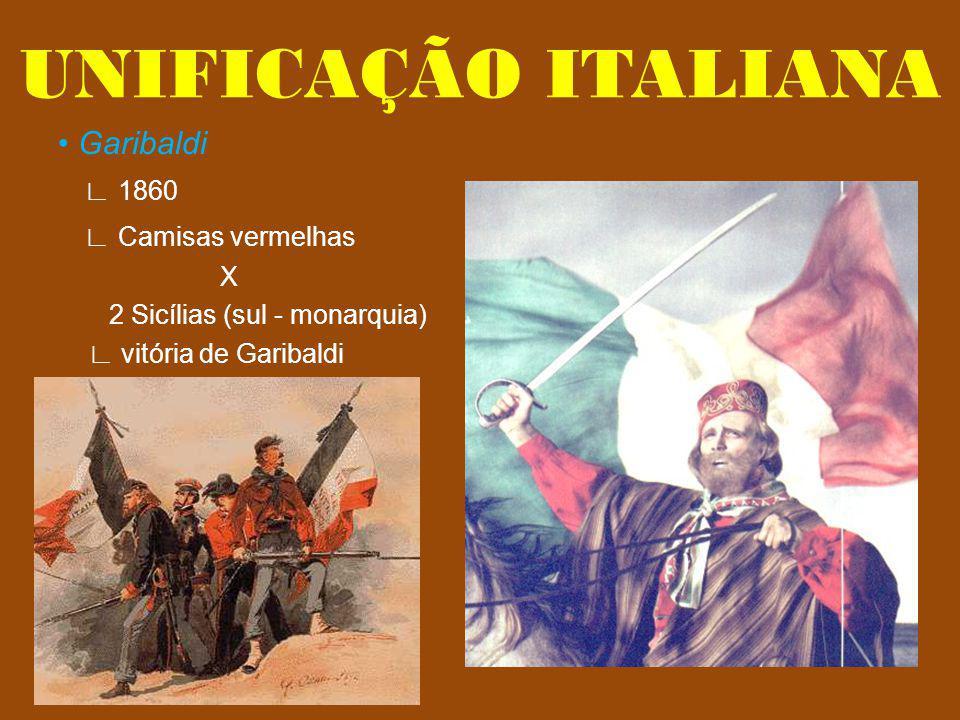 Garibaldi 1860 Camisas vermelhas X 2 Sicílias (sul - monarquia) vitória de Garibaldi UNIFICAÇÃO ITALIANA