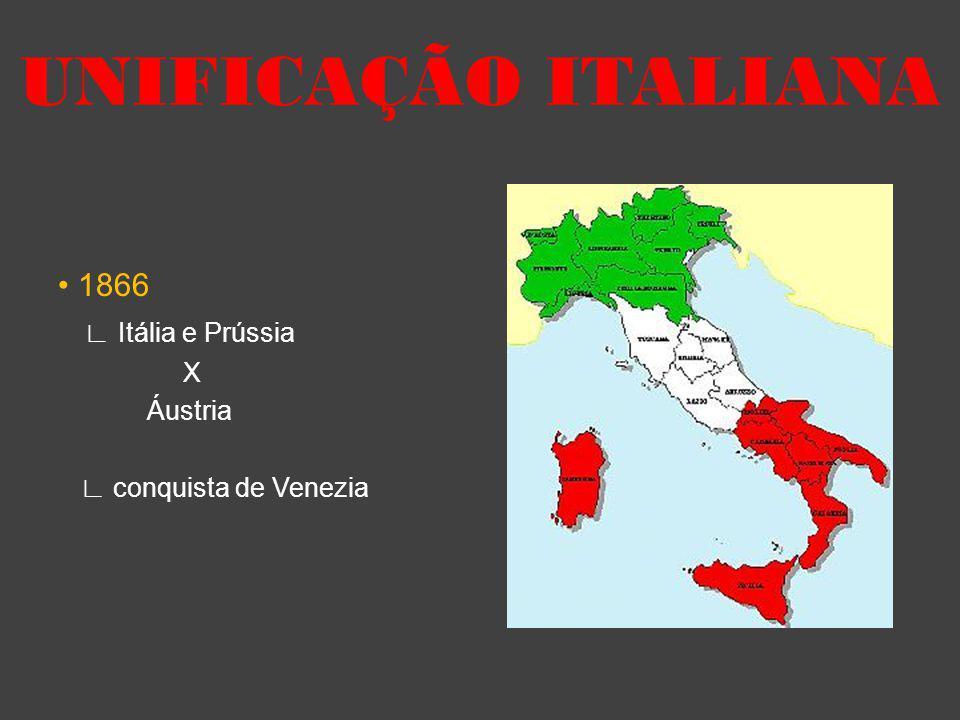 1866 Itália e Prússia X Áustria conquista de Venezia UNIFICAÇÃO ITALIANA