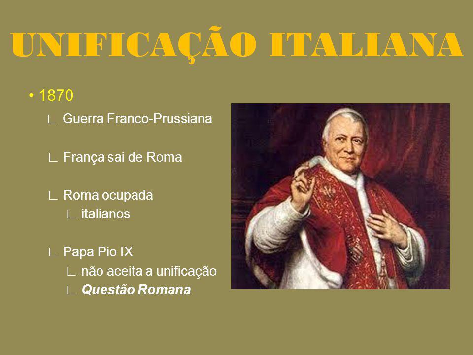1870 Guerra Franco-Prussiana França sai de Roma Roma ocupada italianos Papa Pio IX não aceita a unificação Questão Romana UNIFICAÇÃO ITALIANA