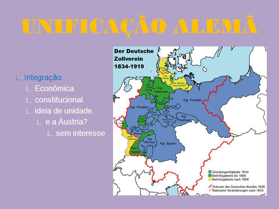 Integração Econômica constitucional ideia de unidade e a Áustria? sem interesse UNIFICAÇÃO ALEMÃ