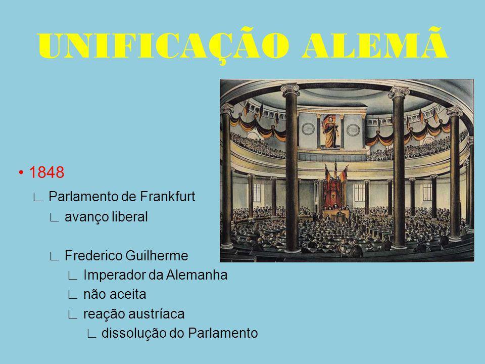 1848 Parlamento de Frankfurt avanço liberal Frederico Guilherme Imperador da Alemanha não aceita reação austríaca dissolução do Parlamento UNIFICAÇÃO