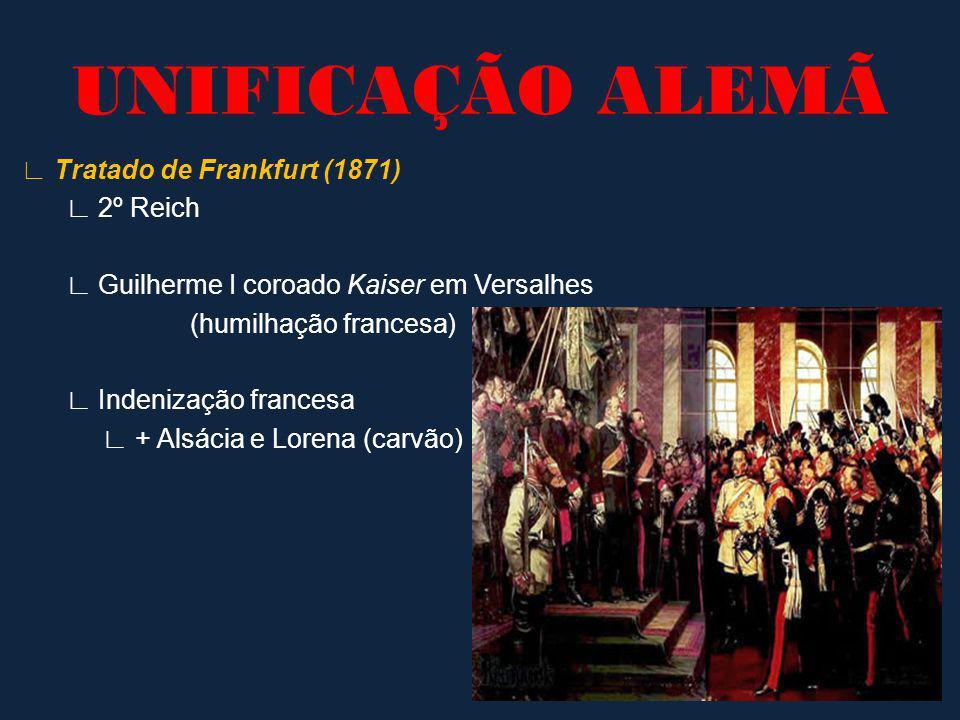 Tratado de Frankfurt (1871) 2º Reich Guilherme I coroado Kaiser em Versalhes (humilhação francesa) Indenização francesa + Alsácia e Lorena (carvão) UN