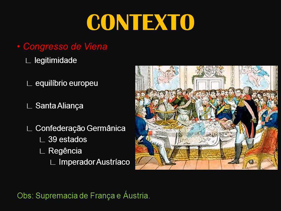 CONTEXTO Congresso de Viena legitimidade equilíbrio europeu Santa Aliança Confederação Germânica 39 estados Regência Imperador Austríaco Obs: Supremac
