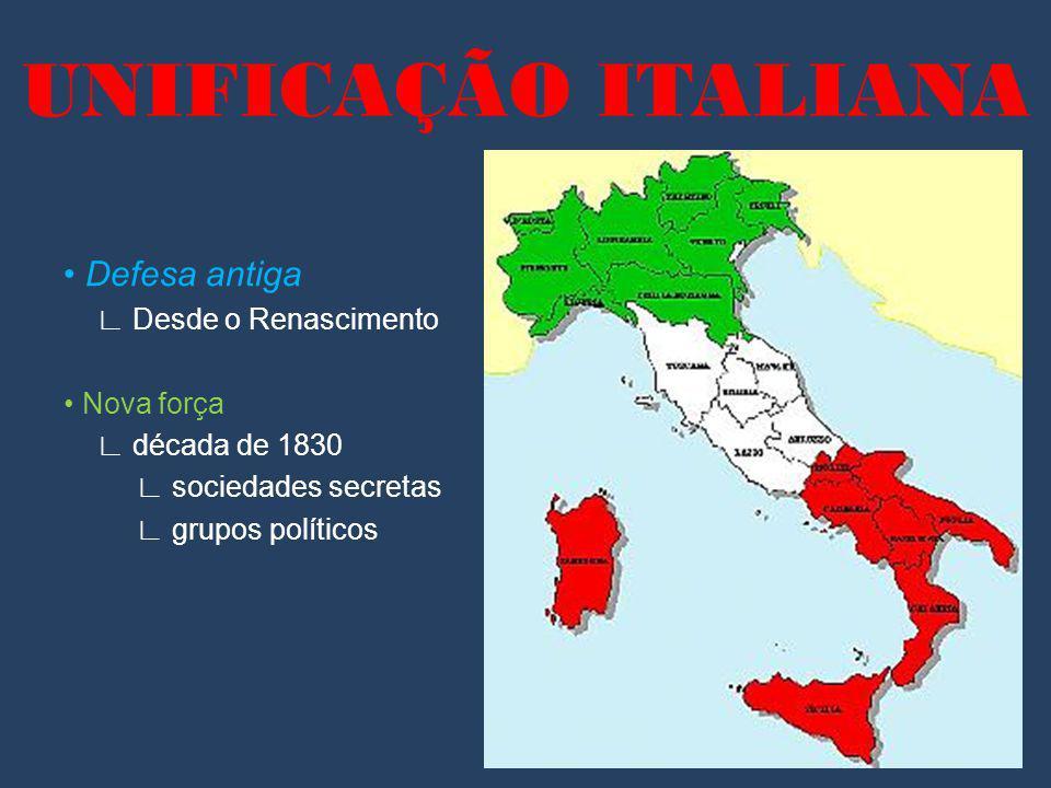 UNIFICAÇÃO ITALIANA Defesa antiga Desde o Renascimento Nova força década de 1830 sociedades secretas grupos políticos