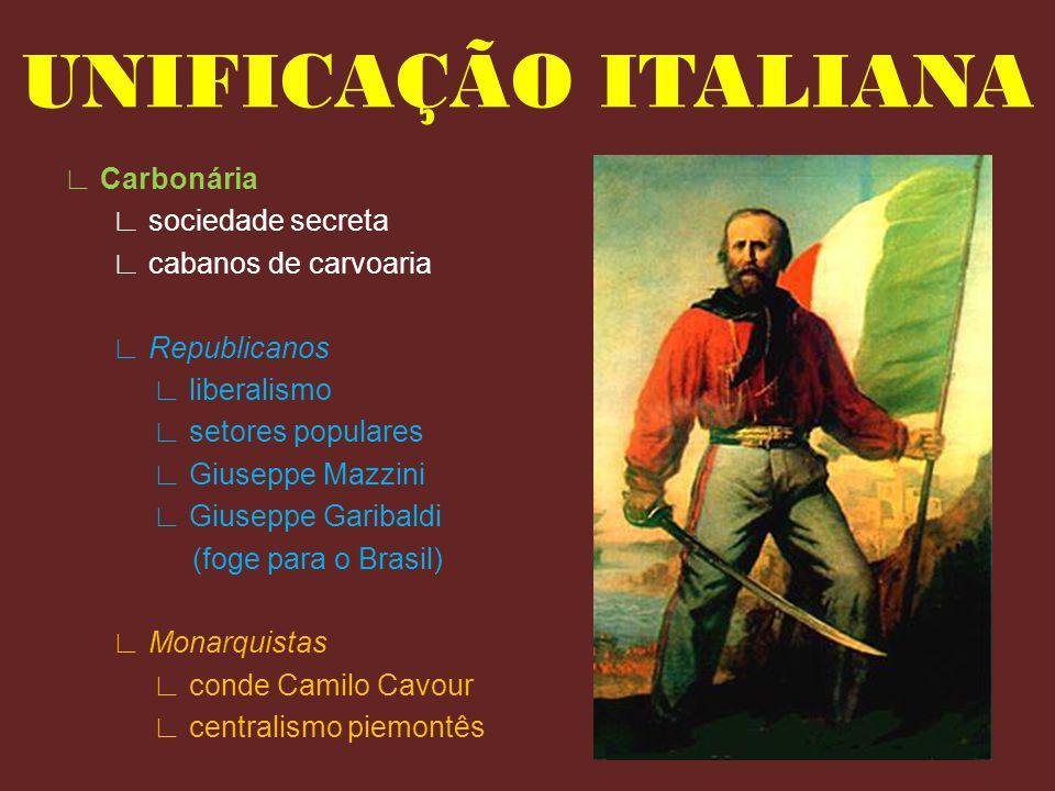 Carbonária sociedade secreta cabanos de carvoaria Republicanos liberalismo setores populares Giuseppe Mazzini Giuseppe Garibaldi (foge para o Brasil)