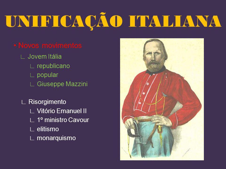 Novos movimentos Jovem Itália republicano popular Giuseppe Mazzini Risorgimento Vitório Emanuel II 1º ministro Cavour elitismo monarquismo UNIFICAÇÃO