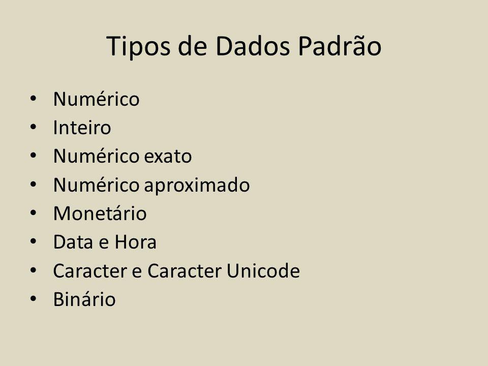 Tipos de Dados Padrão Numérico Inteiro Numérico exato Numérico aproximado Monetário Data e Hora Caracter e Caracter Unicode Binário