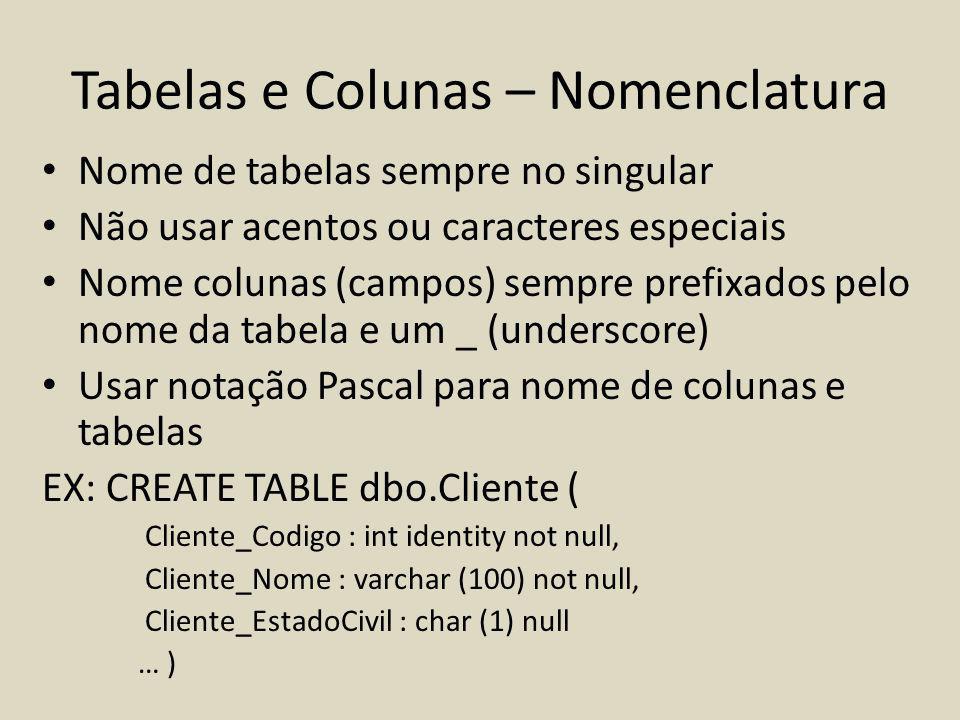 Tabelas e Colunas – Nomenclatura Nome de tabelas sempre no singular Não usar acentos ou caracteres especiais Nome colunas (campos) sempre prefixados p