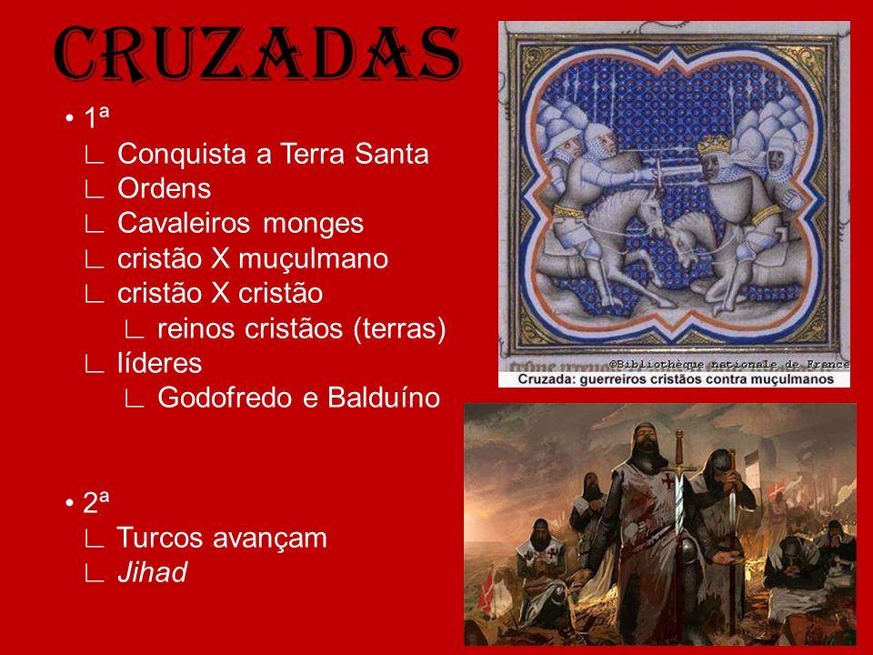 CRUZADAS 1ª Conquista a Terra Santa Ordens Cavaleiros monges cristão X muçulmano cristão X cristão reinos cristãos (terras) líderes Godofredo e Balduí