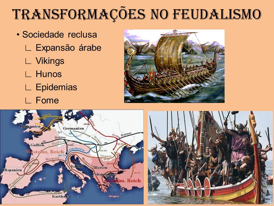 TRANSFORMAÇÕES NO FEUDALISMO Sociedade reclusa Expansão árabe Vikings Hunos Epidemias Fome