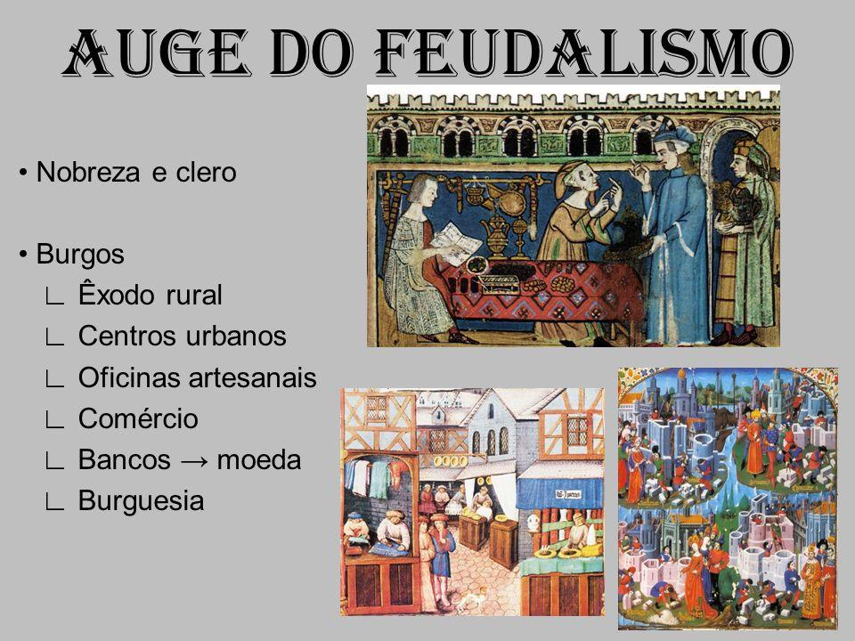AUGE DO FEUDALISMO Nobreza e clero Burgos Êxodo rural Centros urbanos Oficinas artesanais Comércio Bancos moeda Burguesia
