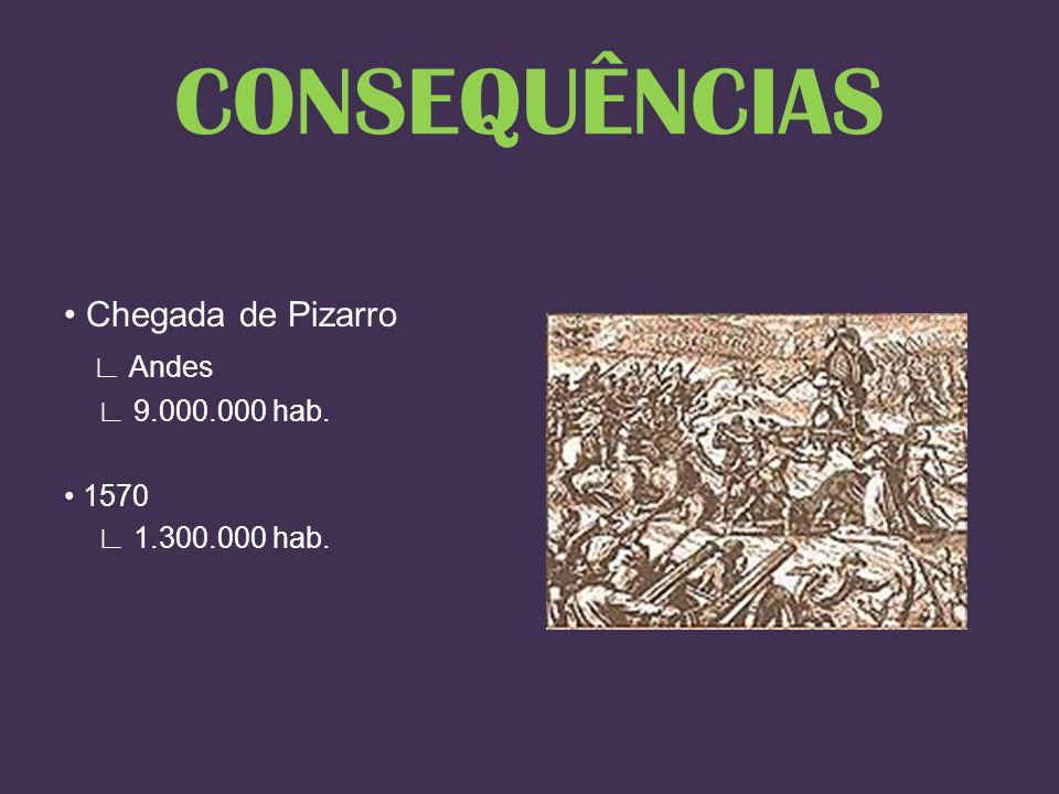 Chegada de Pizarro Andes 9.000.000 hab. 1570 1.300.000 hab. CONSEQUÊNCIAS