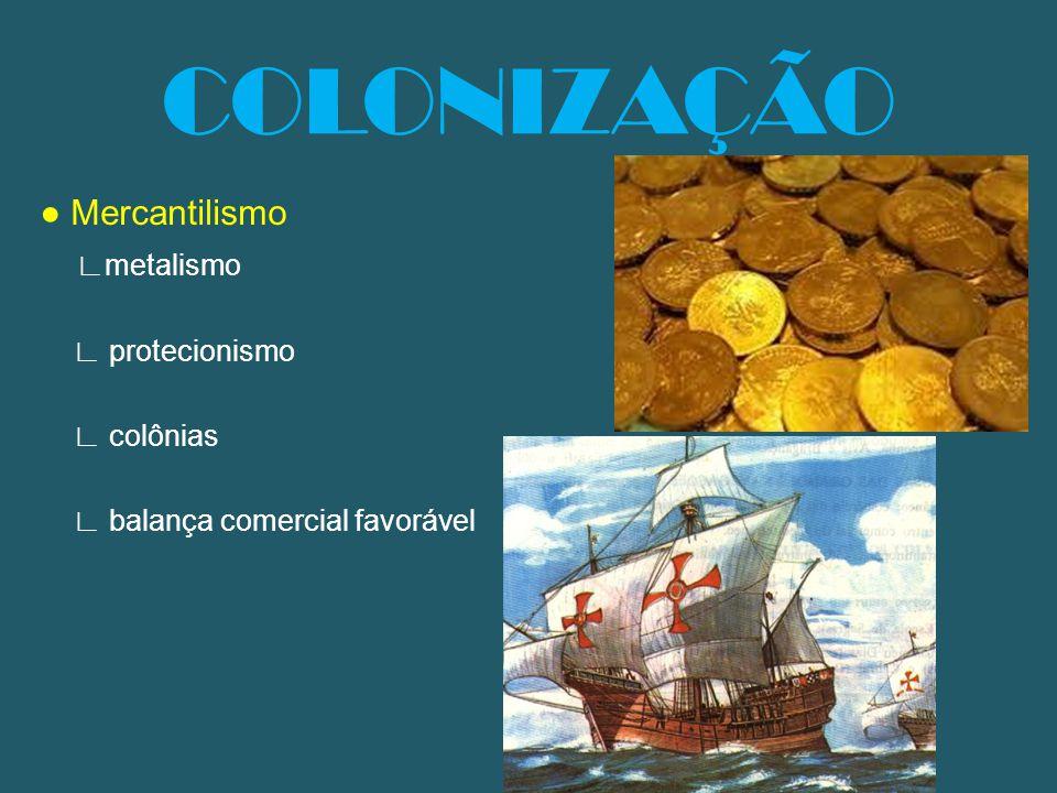 COLONIZAÇÃO Mercantilismo metalismo protecionismo colônias balança comercial favorável