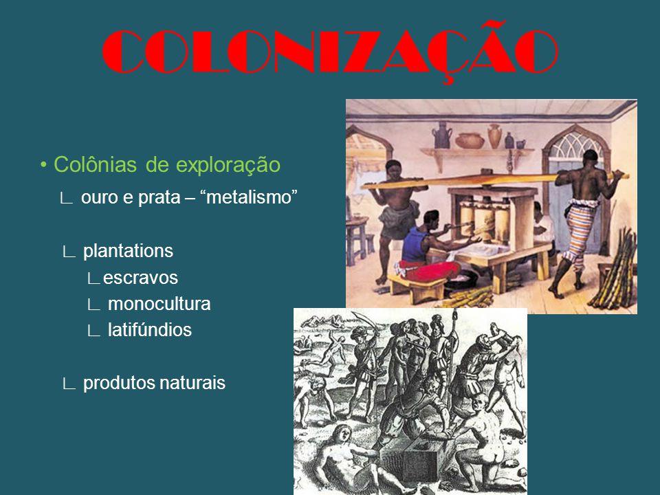 Colônias de exploração ouro e prata – metalismo plantations escravos monocultura latifúndios produtos naturais COLONIZAÇÃO