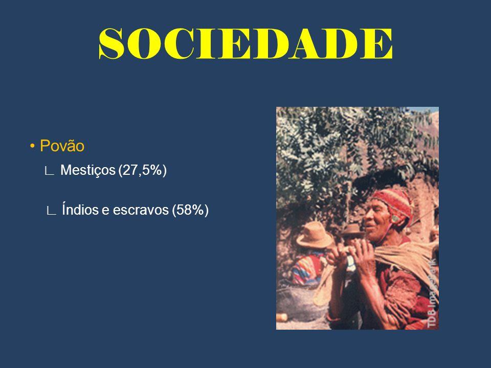 SOCIEDADE Povão Mestiços (27,5%) Índios e escravos (58%)