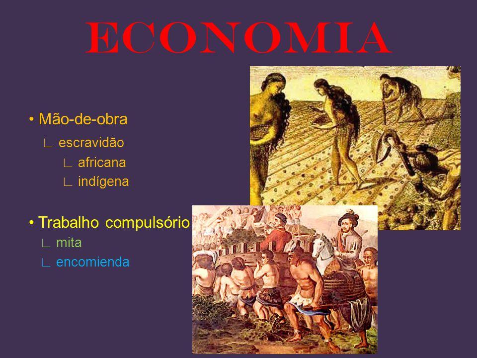 Mão-de-obra escravidão africana indígena Trabalho compulsório mita encomienda ECONOMIA