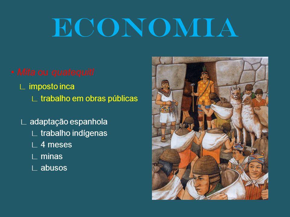 Mita ou quatequitl imposto inca trabalho em obras públicas adaptação espanhola trabalho indígenas 4 meses minas abusos ECONOMIA