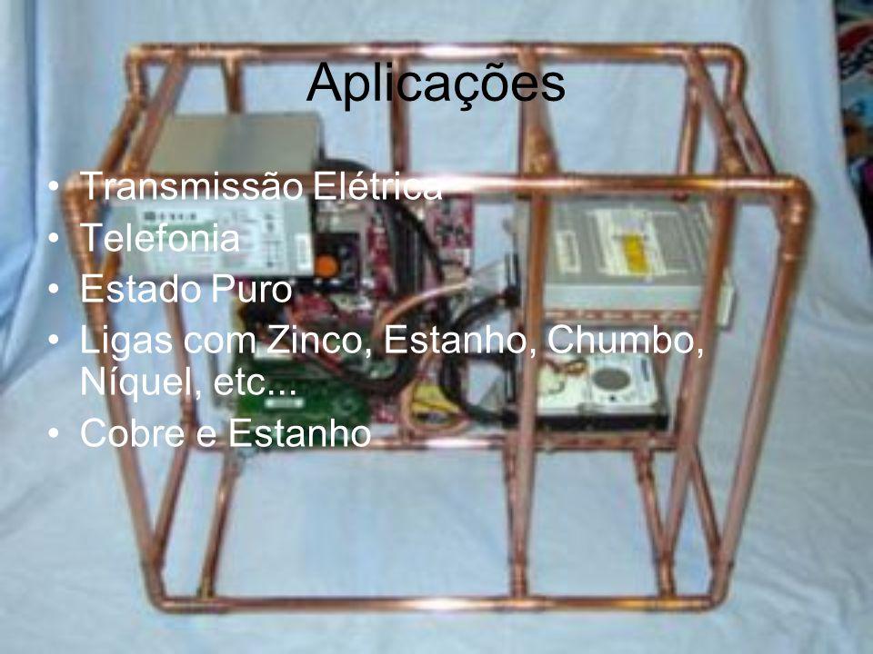 Ligas estanho cádmio ferro telúrio zircônio cromo berílio latões (zinco) bronzes (estanho) cuproalumínios (alumínio) cuproníqueis ( níquel ) cuprosilícios (silício) alpacas (níquel-zinco)