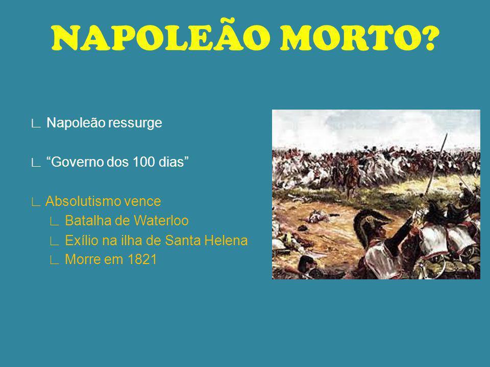NAPOLEÃO MORTO? 1815 - Fevereiro durante o Congresso fuga de Napoleão lidera um exército apoio popular Luís XVIII foge