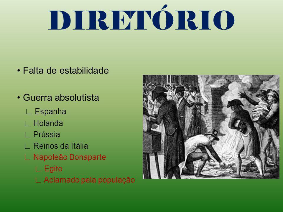DIRETÓRIO Girondinos no poder Enfrentamentos políticos jacobinos realistas Problemas econômicos Revoltas Graco Babeuf (1796) fim da propriedade privad