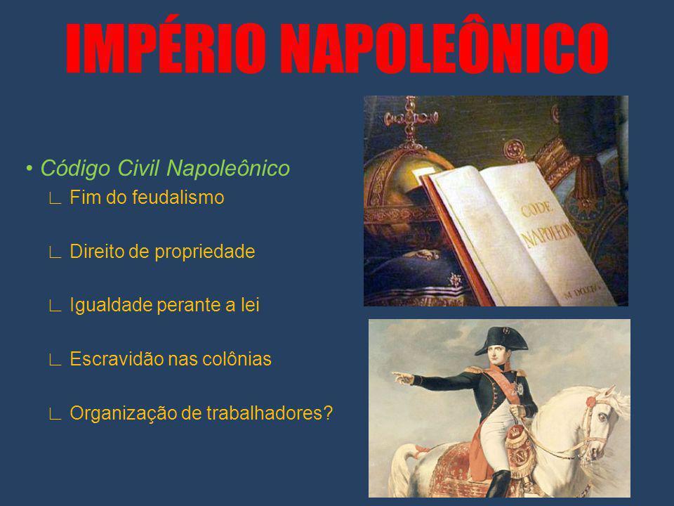 IMPÉRIO NAPOLEÔNICO Código Civil Napoleônico Fim do feudalismo Direito de propriedade Igualdade perante a lei Escravidão nas colônias Organização de trabalhadores?