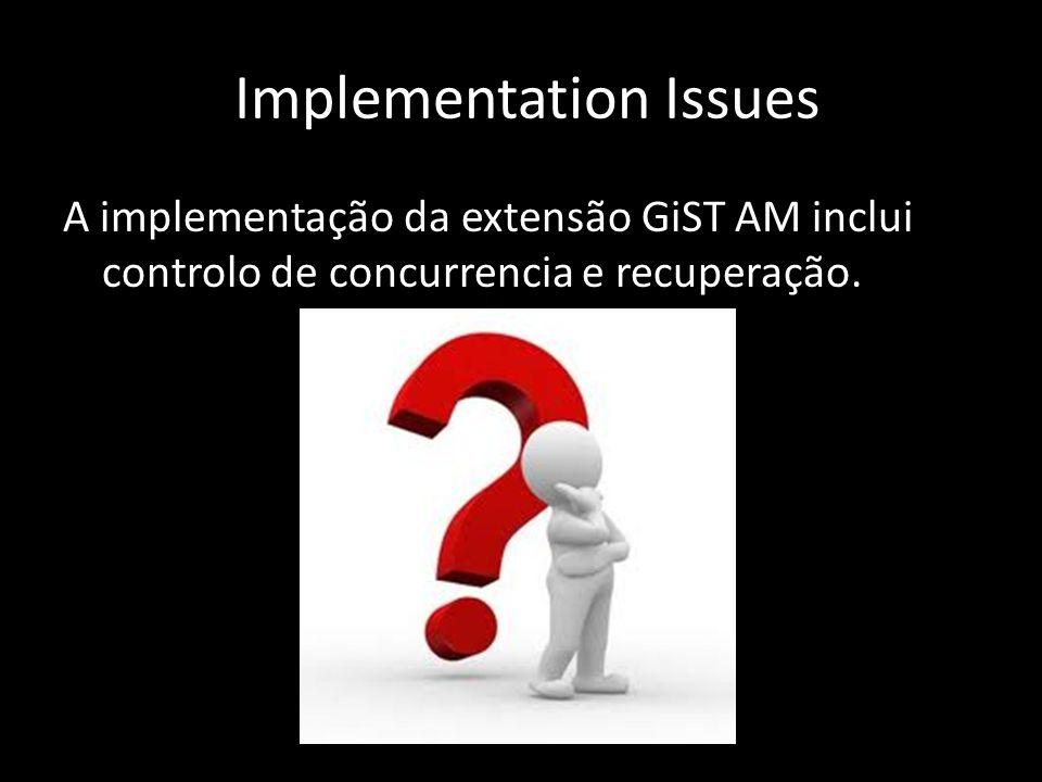 Implementation Issues A implementação da extensão GiST AM inclui controlo de concurrencia e recuperação.