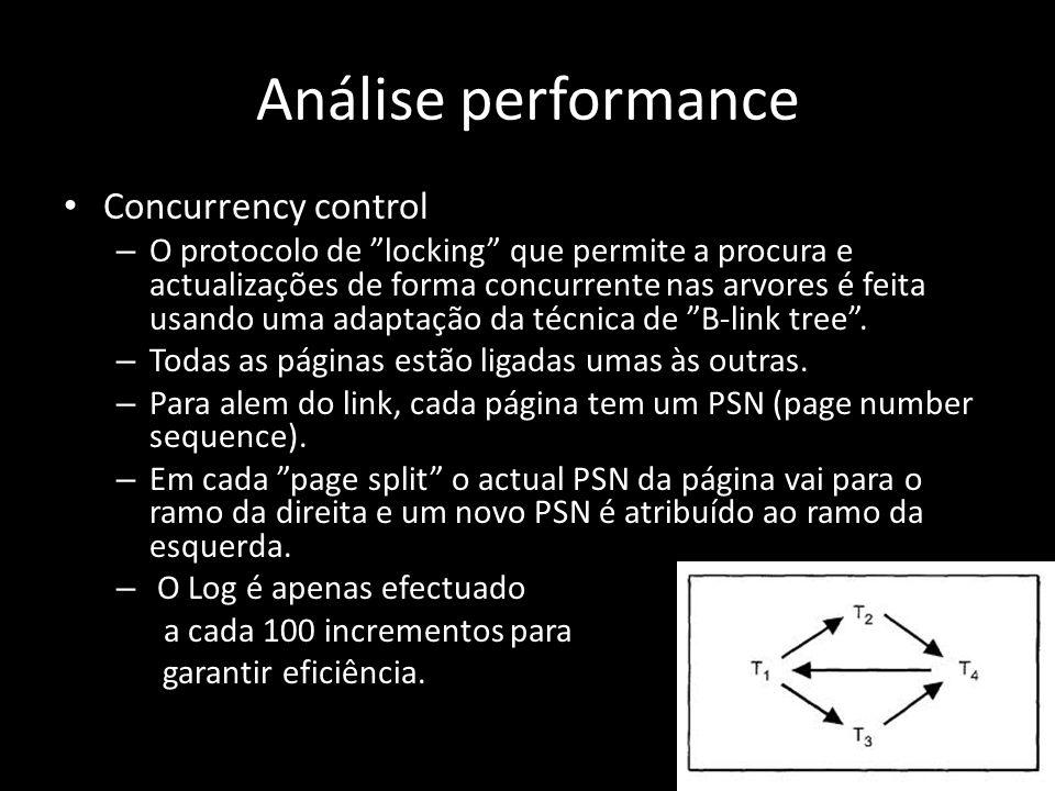 Análise performance Concurrency control – O protocolo de locking que permite a procura e actualizações de forma concurrente nas arvores é feita usando uma adaptação da técnica de B-link tree.