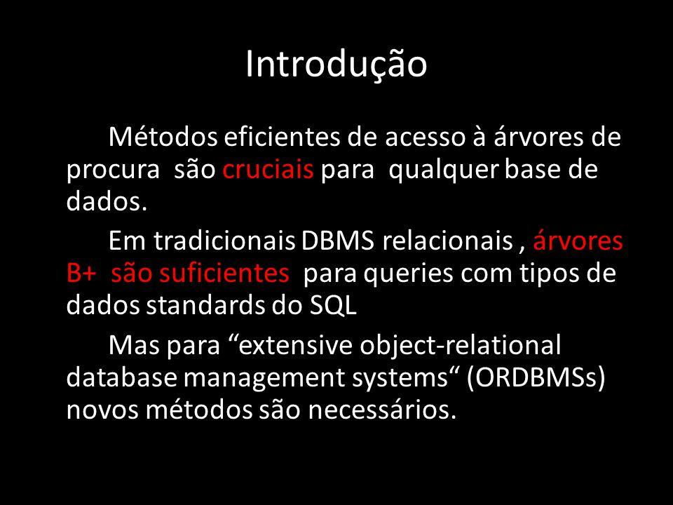 Introdução Métodos eficientes de acesso à árvores de procura são cruciais para qualquer base de dados. Em tradicionais DBMS relacionais, árvores B+ sã