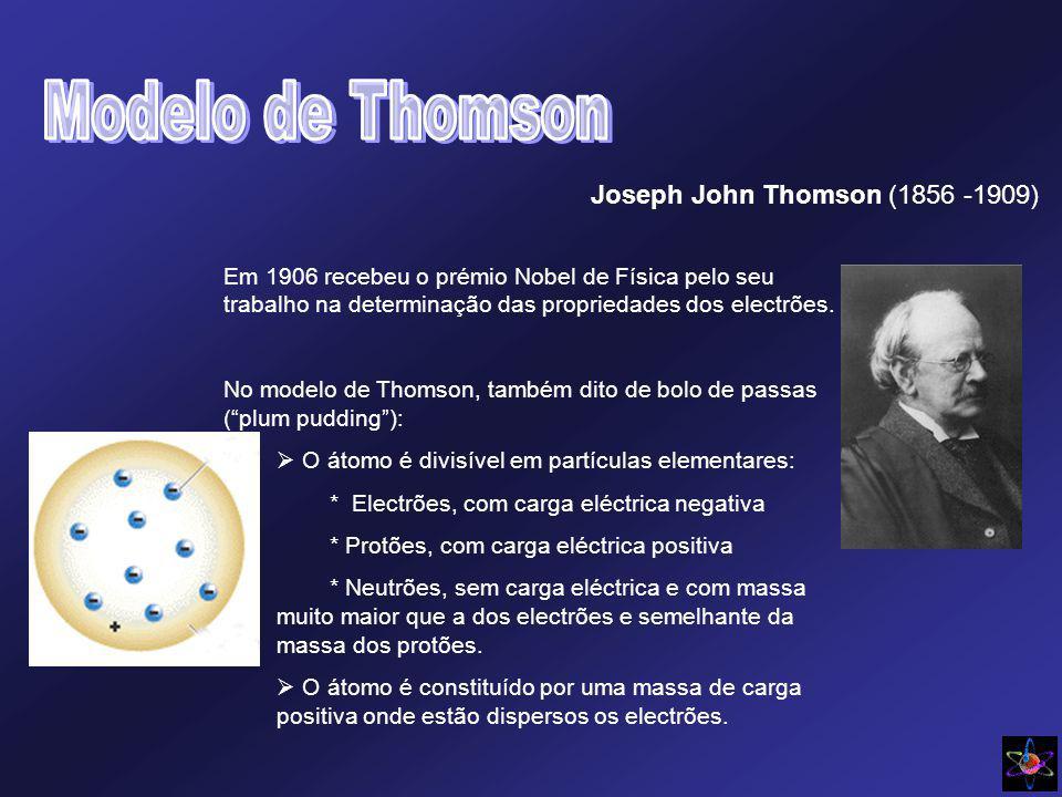 Joseph John Thomson (1856 -1909) Em 1906 recebeu o prémio Nobel de Física pelo seu trabalho na determinação das propriedades dos electrões. No modelo