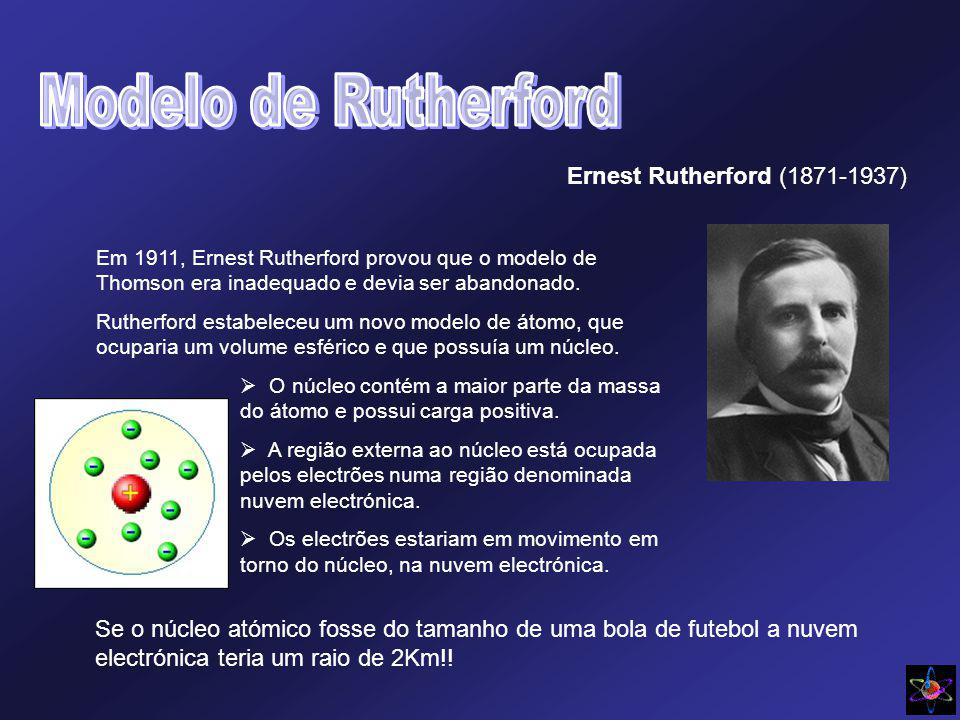 Ernest Rutherford (1871-1937) Em 1911, Ernest Rutherford provou que o modelo de Thomson era inadequado e devia ser abandonado. Rutherford estabeleceu